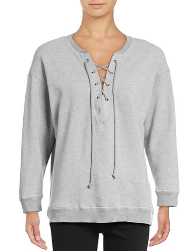 Soft Joie Lace-Up Neck Sweatshirt-GREY-Small 88531730_GREY_Small