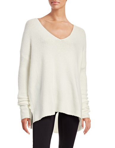 Soft Joie Madrona Wool-Blend V-Neck Blouse-WHITE-X-Small 88832648_WHITE_X-Small