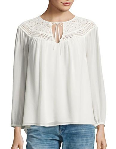 Joie Belleville Lace and Silk Peasant Top-WHITE-X-Small 88768365_WHITE_X-Small