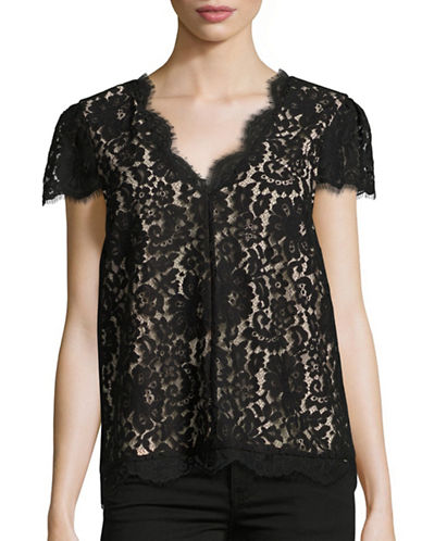 Joie Averra Scalloped Lace Top-BLACK-Small