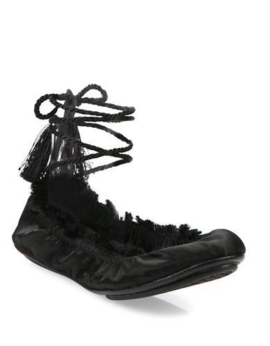 Joie Bandele Satin Ballet Flats-BLACK-EUR 37/US 7
