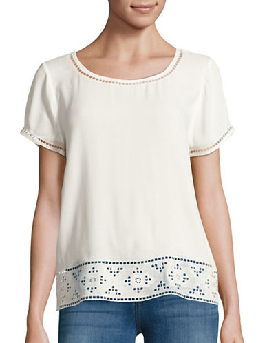 Joie Kadence Embroidered Woven T-Shirt-WHITE-X-Small 88896337_WHITE_X-Small
