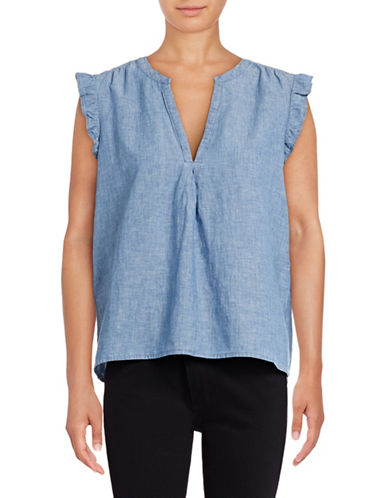 Joie Blaine Short Sleeve Chambray Blouse-BLUE-Small