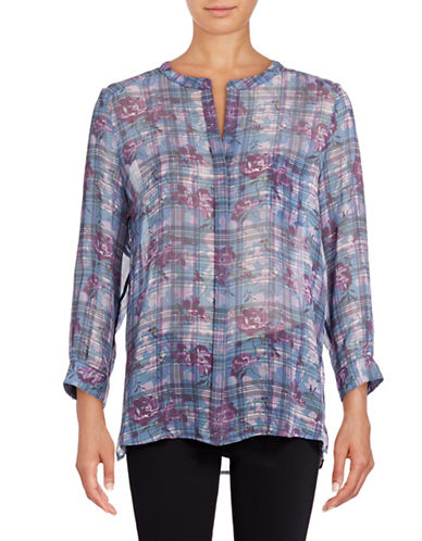 Joie Brigid Long Sleeve Floral Plaid Blouse-BLUE-Medium