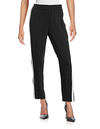 Joie Austin Striped Track Pants-BLACK-Large 88896352_BLACK_Large