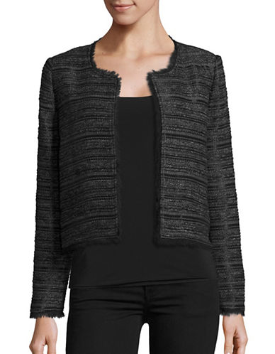 Joie Evran Striped Boucle Jacket-BLACK-Medium