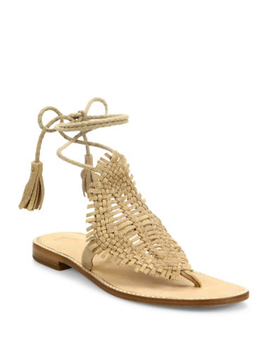 Joie Kacia Suede Wrap-Around Sandals-GOLD-EUR 41/US 11