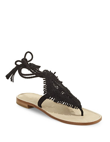 Joie Kacia Woven Suede Sandals-BLACK-EUR 37/US 7