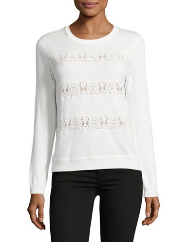 Joie Adonia Lace-Striped Sweater-WHITE-Medium