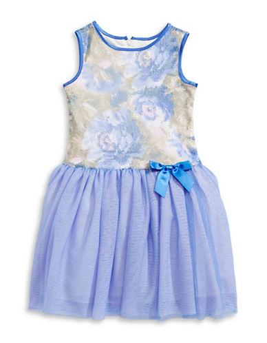 Little Angels Floral Sequin Tutu Dress-BLUE-2
