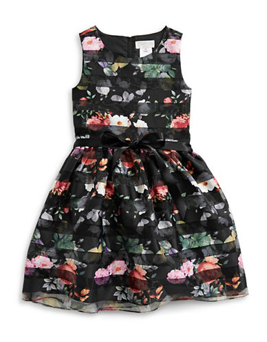 Lavender Burnout Floral Fit-and-Flare Dress-BLACK MULTI-12