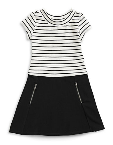 Little Angels Striped A-Line Dress-BLACK-3