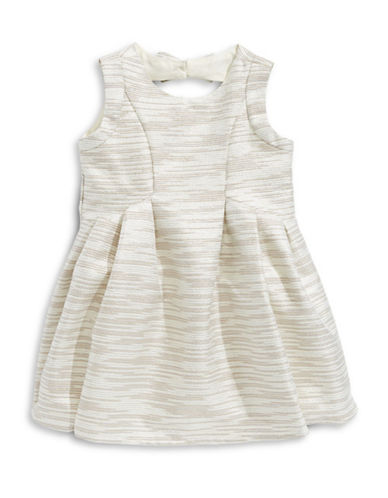 Little Angels Striped Jacquard Dress with Bloomers-BEIGE-24 Months