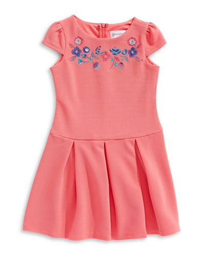 Little Angels Striped Embroidered A-Line Dress-ORANGE-2T