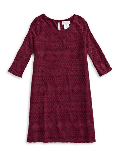 Lavender Lace Trapeze Dress with Key Necklace-CRANBERRY-10