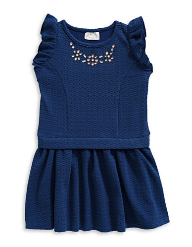 Lavender Jewelled Diamond-Stitch Dress-NAVY-6X