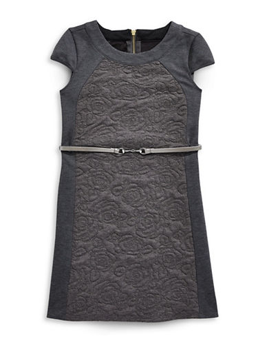 Blush Floral Jacquard Shift Dress with Belt-GREY-12