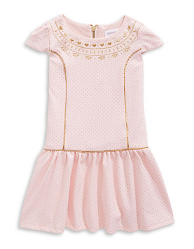 Little Angels Embroidered Dotted Cap Sleeve Dress-PINK-5