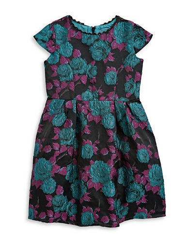 Little Angels Cap Sleeve Floral Brocade Dress-ASSORTED-4