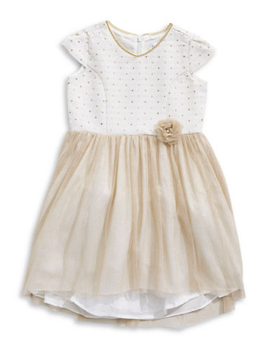 Little Angels Princess Metallic Tulle Dress-GOLD-4