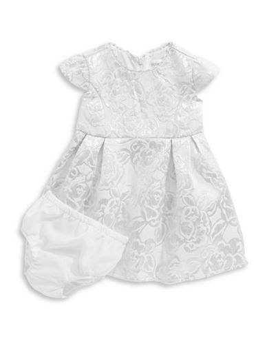 Little Angels Floral Brocade Dress with Bloomers-NATURAL-24 Months