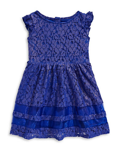 Lavender Lace Flutter Sleeve Dress-BLUE-3