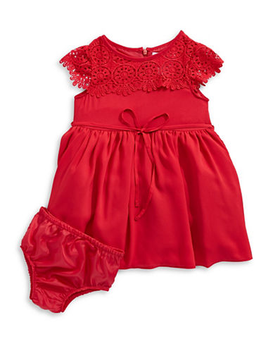 Little Angels Georgette Crochet Tulle Dress-RED-24 Months
