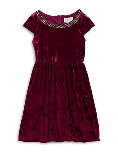 Blush Velvet Cap Sleeve Dress-RED-14