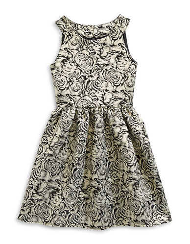 Lavender Floral Brocade Dress-BLACK/GOLD-14