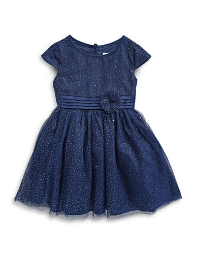 Little Angels Sparkle Cap-Sleeve Dress-BLUE-4