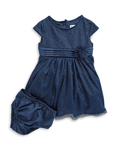 Little Angels Two-Piece Sparkle Netting Dress Set-BLUE-12 Months