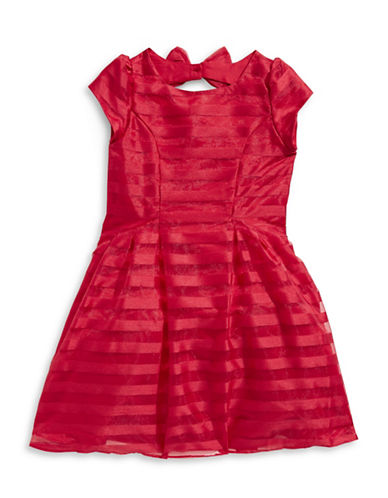 Little Angels Shadow Stripe Party Dress-RED-2T