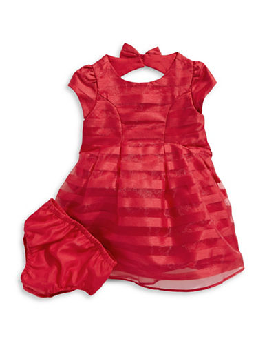 Little Angels Two-Piece Shadow Organza Dress Set-RED-24 Months