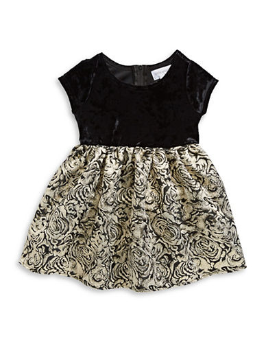 Little Angels Velvet and Brocade Dress-BLACK-2T