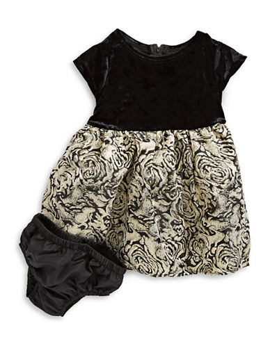 Little Angels Two-Piece Velvet to Brocade Dress Set-BLACK-18 Months