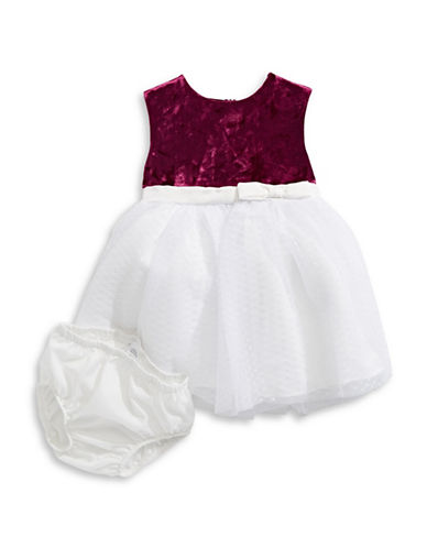 Little Angels Two-Piece Velvet Netting Dress Set-RED-18 Months