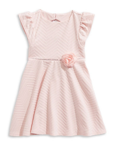 Little Angels Floral Textured Chevron Dress-PEACH-6X