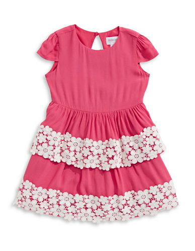 Little Angels Lace-Trimmed Crepe Dress-CORAL-2T