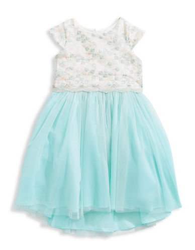 Little Angels Embroidered Bodice Mesh Skirt Dress-BLUE-3T