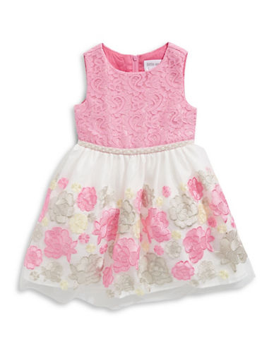 Little Angels Embroidered Mesh Dress-PINK-6X