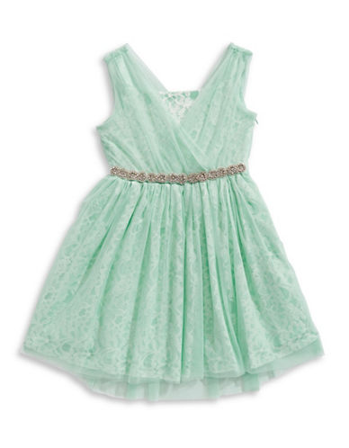Blush Embellished Waist Lace Dress-TEAL-16
