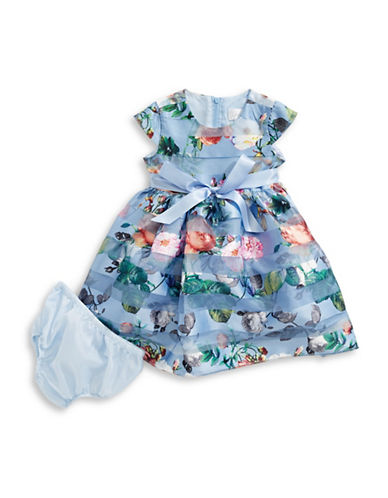 Lavender Burnout Floral Fit-and-Flare Dress-PERIWINKLE-3T