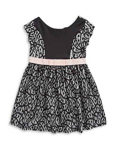 Lavender Bow-Back Lace Dress-BLACK-2T