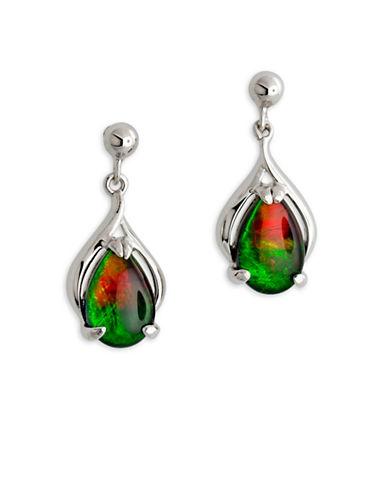 Korite Rhodium-Plated Sterling Silver Ammolite Earrings-AMMOLITE-One Size