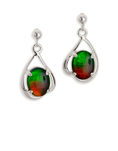 Korite Rhodium-Plated Sterling Silver Oval Ammolite Earrings-AMMOLITE-One Size