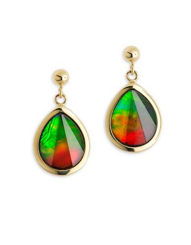 Korite 14K Yellow Gold Teardrop Ammolite Earrings-AMMOLITE-One Size