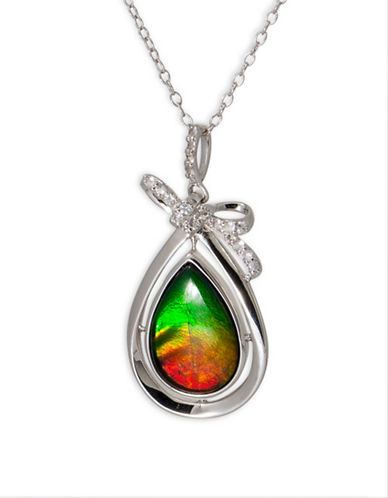 Korite SP3181WS Rhodium Plated Sterling Silver and Ammolite Pendant-AMMOLITE-One Size
