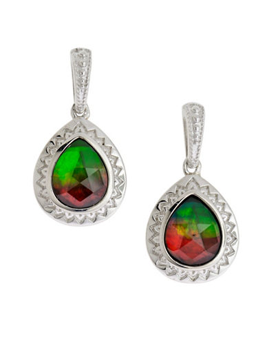 Korite Rhodium Plated Sterling Silver and Ammolite Earrings-AMMOLITE-One Size