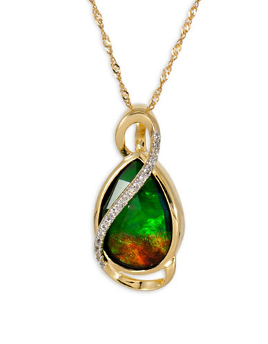 Korite Ammolite Goldplated Sterling Silver Pendant-AMMOLITE-One Size