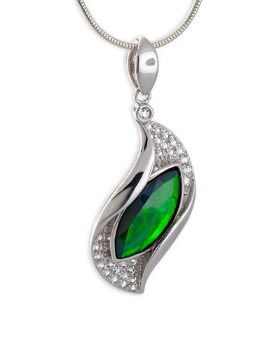 Korite Marquise Ammolite Rhodium-Plated Sterling Silver Pendant-AMMOLITE-One Size